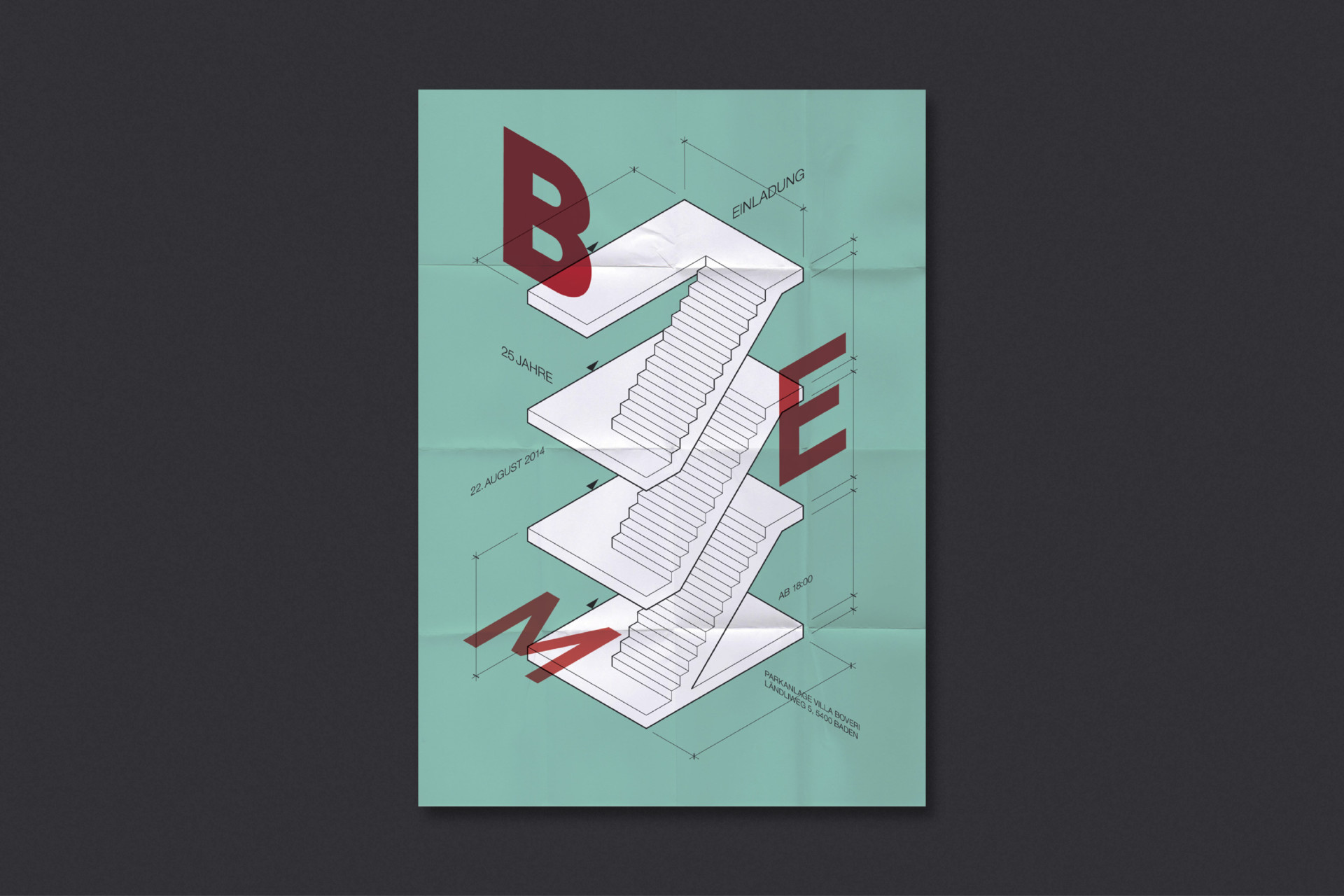 Steiner Grafik Jubiläumseinladung: BEM Architekten, Baden