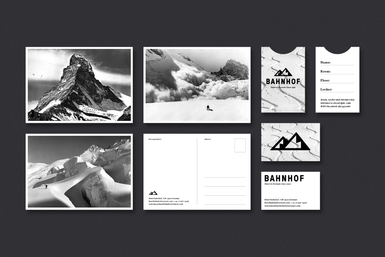 Steiner Grafik Corporate Design: Hotel Bahnhof, Zermatt