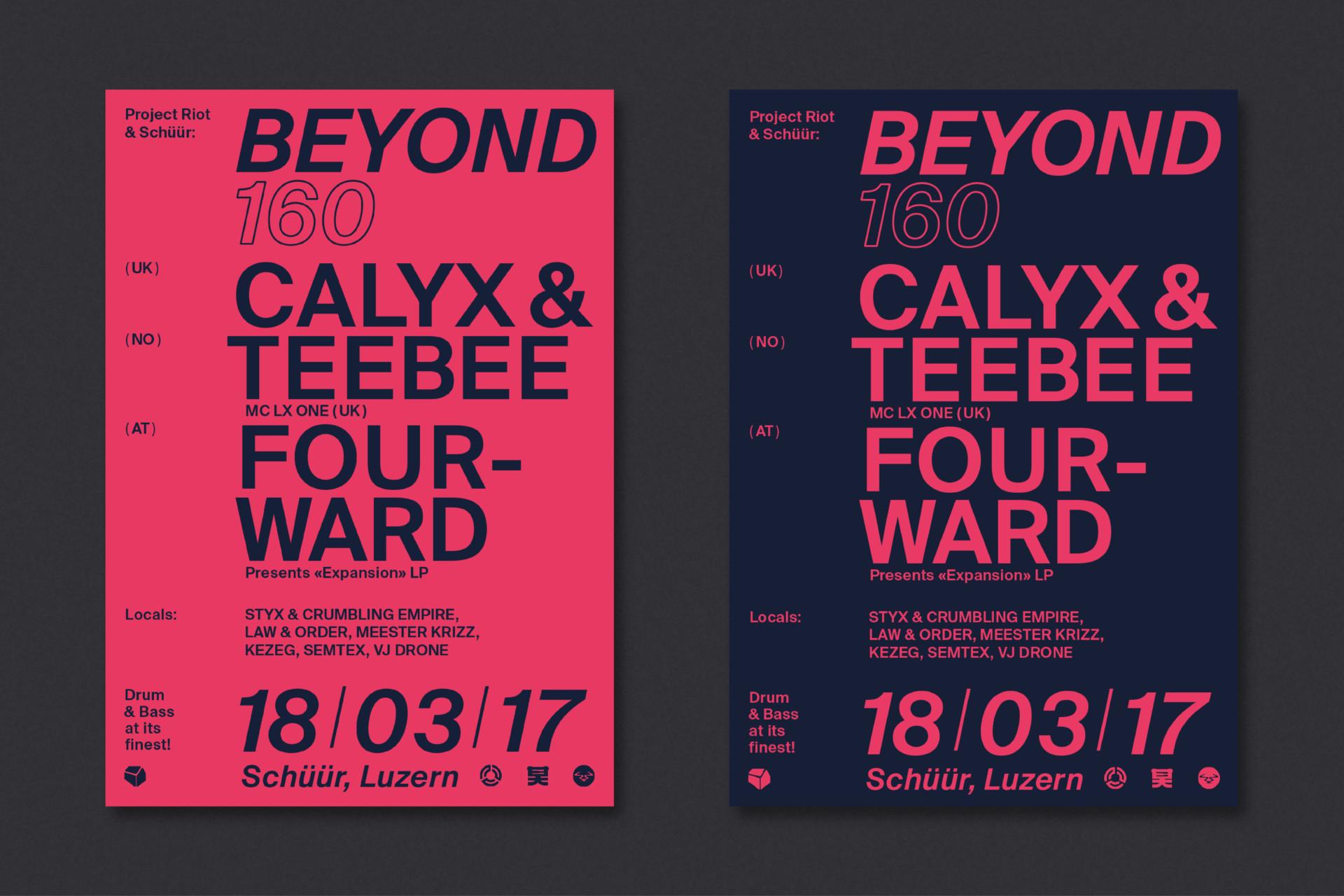 Steiner Grafik Plakatgestaltung: Beyond160, Konzerthaus Schüür, Luzern